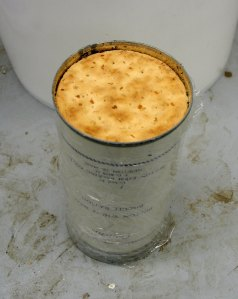 Opened can of biscuits